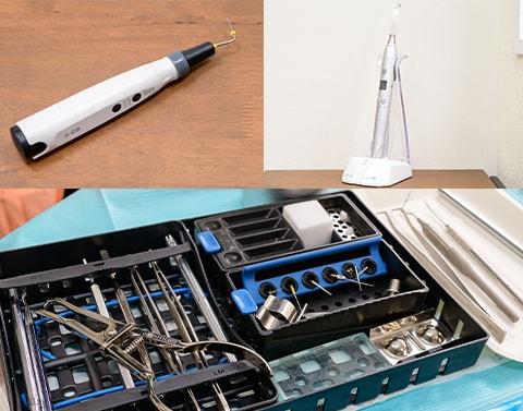 安全面に配慮し、精度を高めるための様々な器具・機材